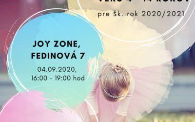 Baletné štúdio prijíma deti vo veku 4 – 14 rokov pre šk. rok 2020/2021