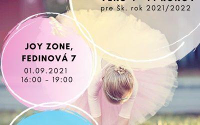 Baletné štúdio prijíma deti vo veku 4 – 14 rokov pre šk. rok 2021/2022